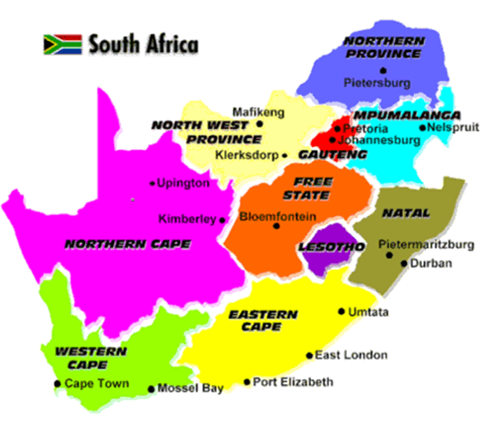 Map Of South Africa Showing 9 Provinces.South Africa 2012
