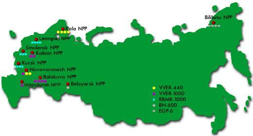 Распределение АЭС представлены в Табл.2. Основная часть АЭС России снабжена реакторами на тепловых нейтронах.