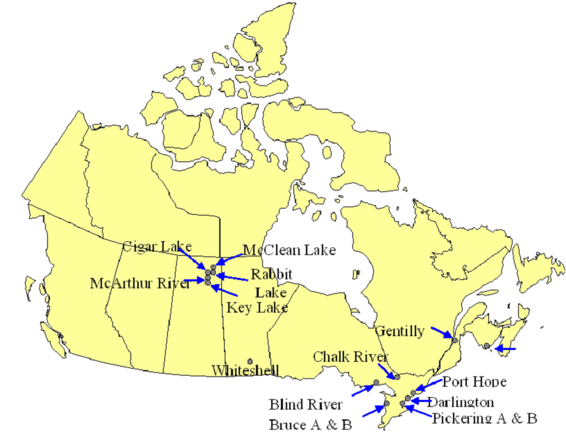 canada nuclear power plants map canada 2014
